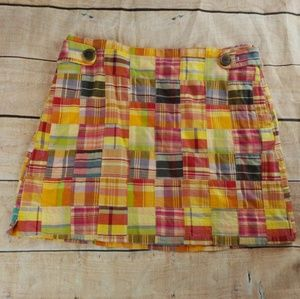 J Crew Colorful Short Madras Plaid Skirt for sale